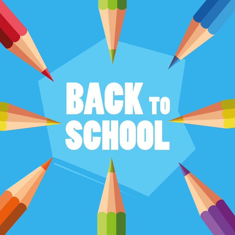 affiche de retour à l & # 39; école avec des crayons de couleur vecteur