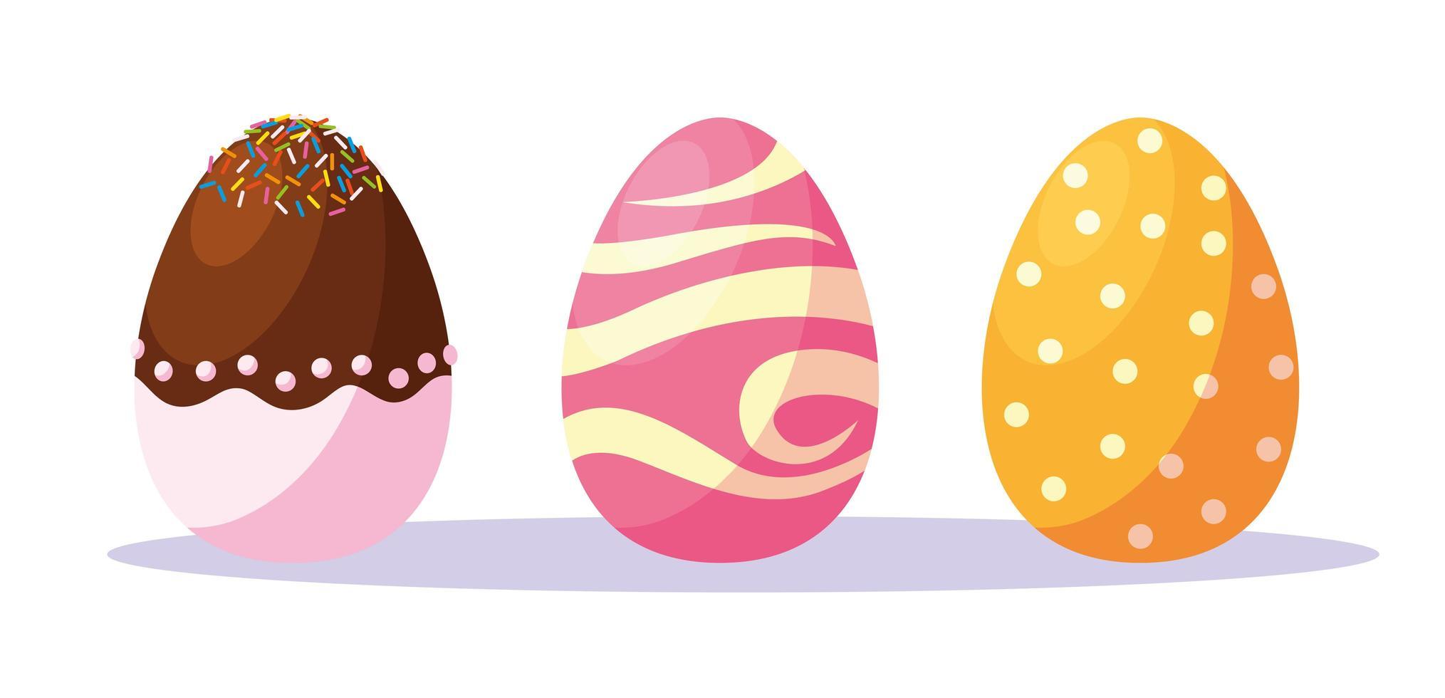ensemble d'oeufs de Pâques décorés vecteur