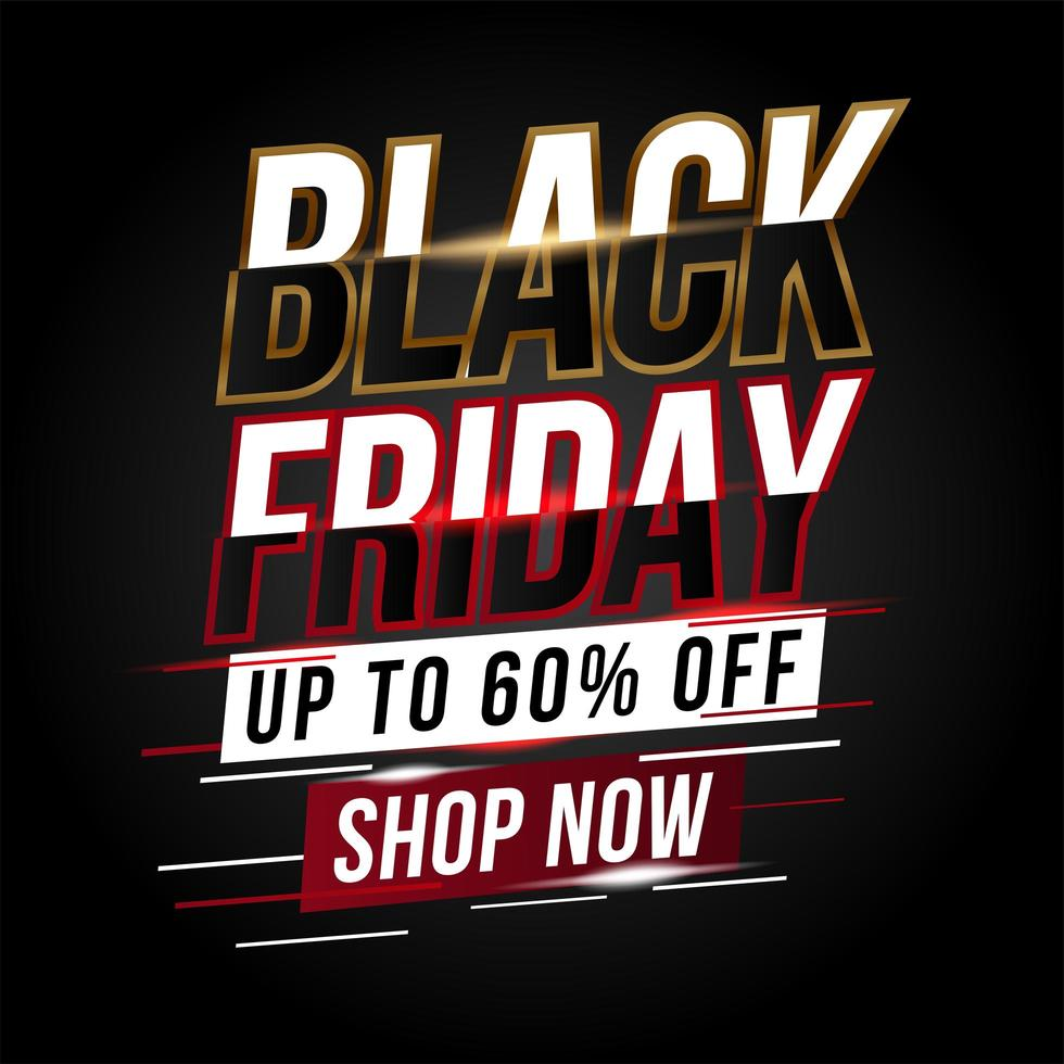 bannière promotionnelle dynamique de vente vendredi noir vecteur