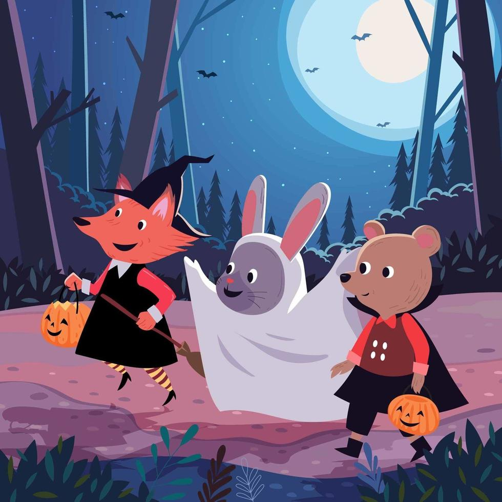 les enfants font des trucs ou des friandises la nuit d'halloween vecteur