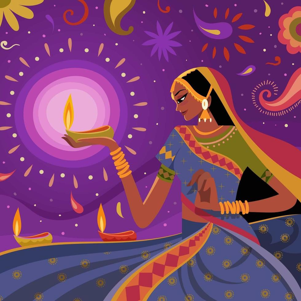 femmes célébrant diwali avec fond abstrait vecteur