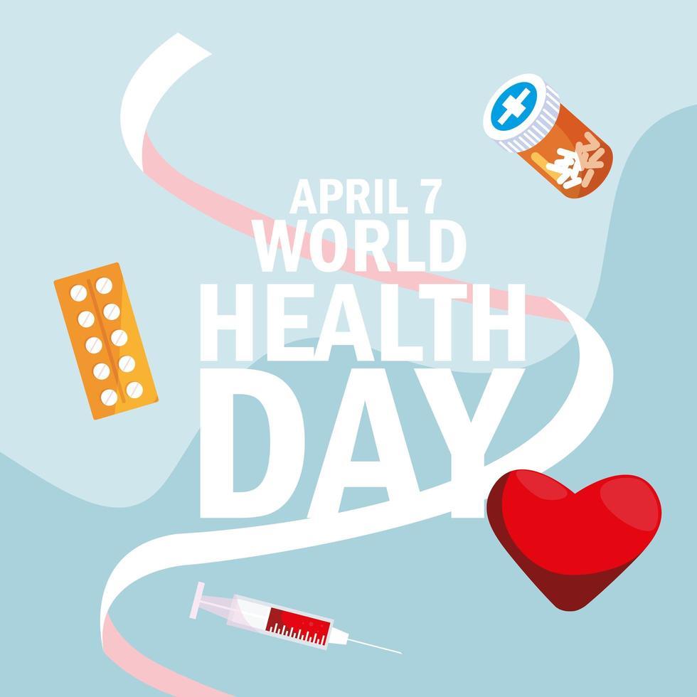 carte de la journée mondiale de la santé avec des médicaments et des icônes de bouteille vecteur