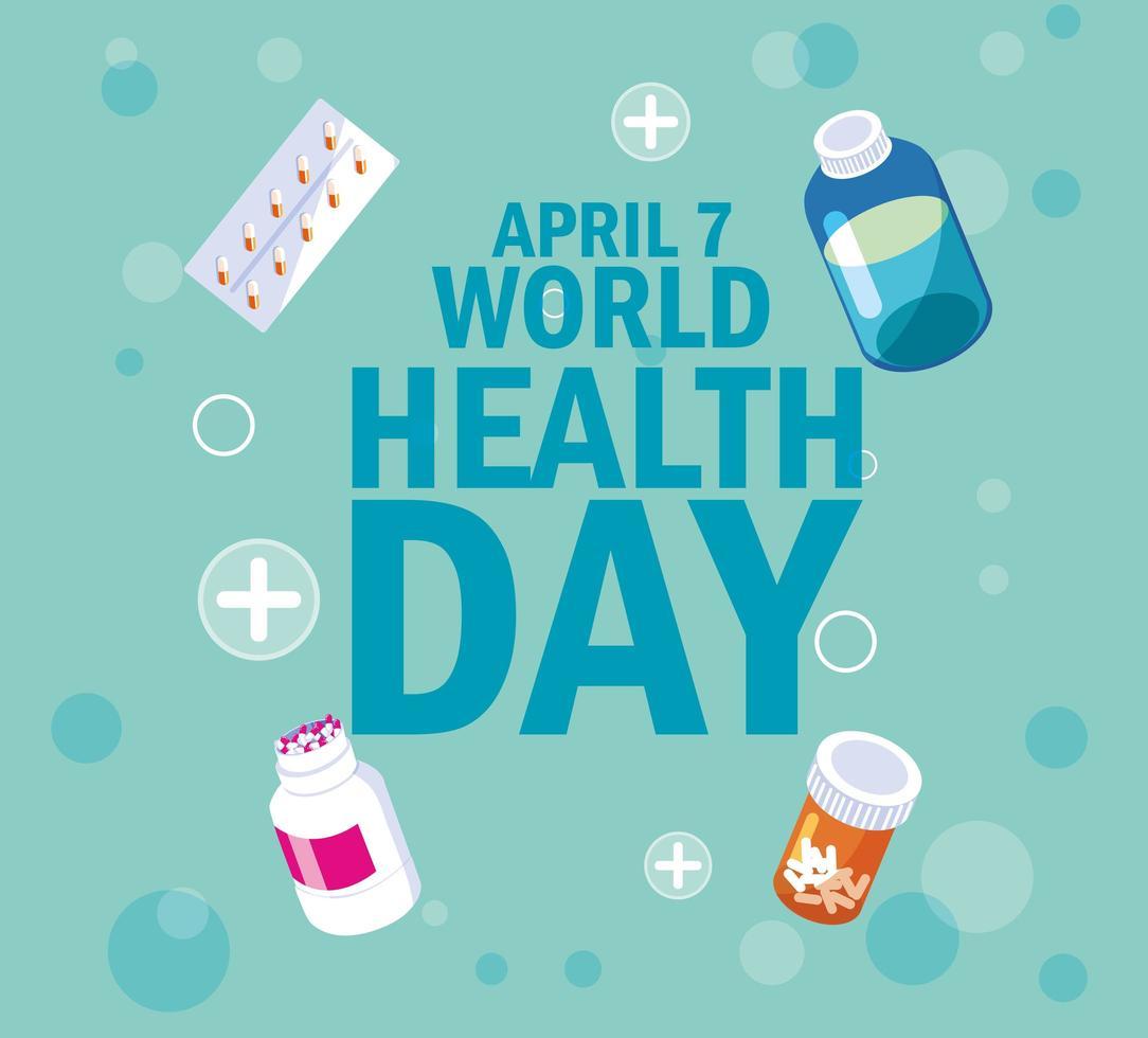 carte de la journée mondiale de la santé avec bouteilles et médicaments vecteur