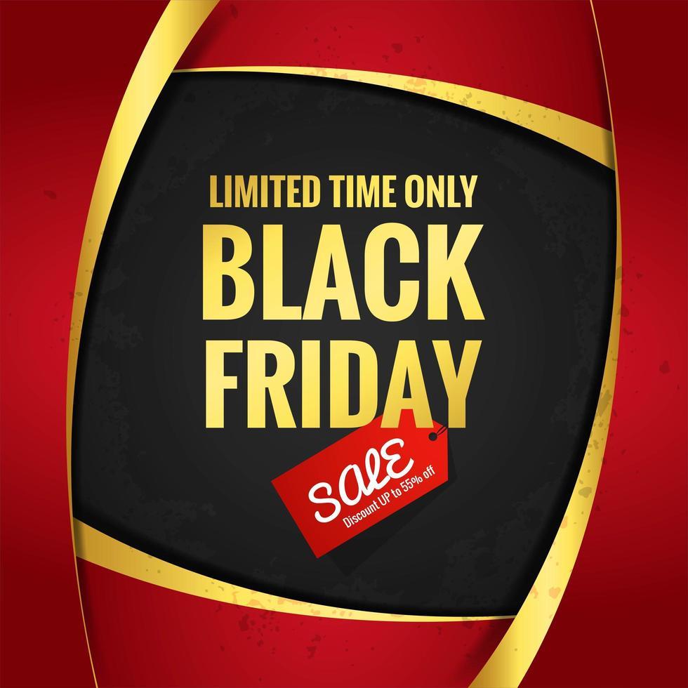 belle affiche de courbe en or rouge de vente vendredi noir vecteur