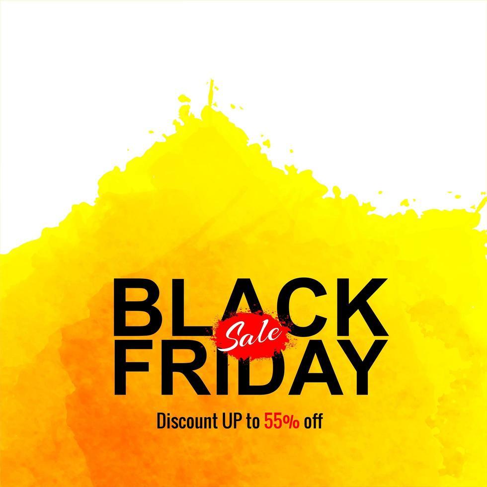 vendredi noir vente conception aquarelle jaune vecteur