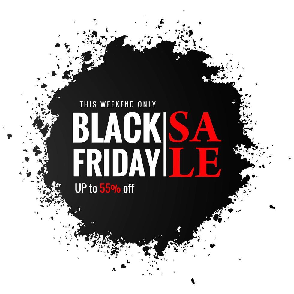 vendredi noir conception de vente splash noir vecteur