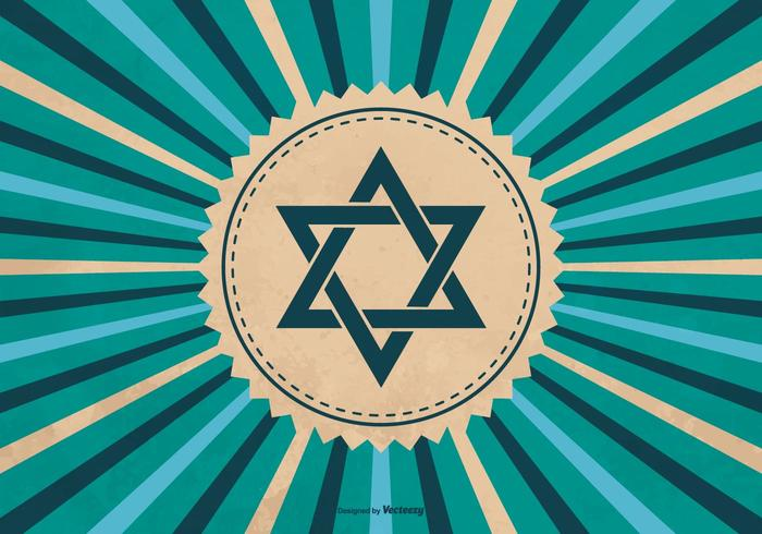 Symbole de Hanoucca sur fond de Sunburst vecteur