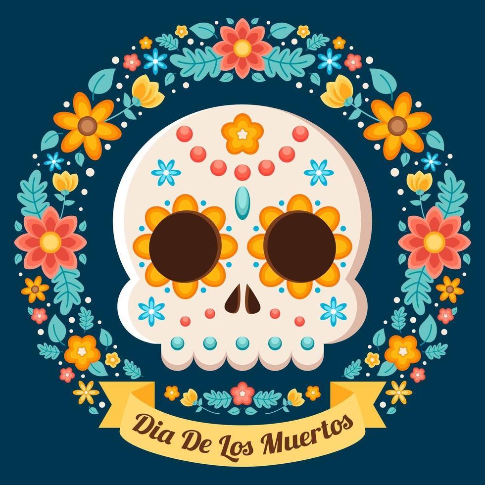 illustration florale colorée de dia de los muertos vecteur