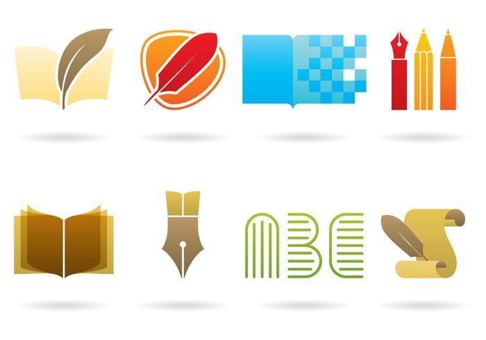 Logos d'écriture et de bibliothèque vecteur