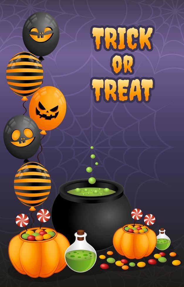 trik ou traiter l'affiche d'halloween vecteur