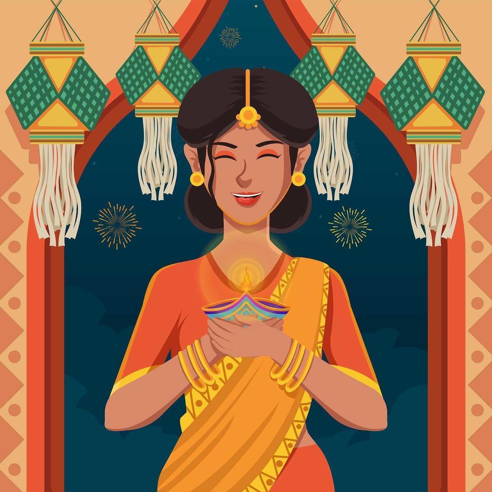 femmes en sari célébrant le merveilleux festival de diwali vecteur