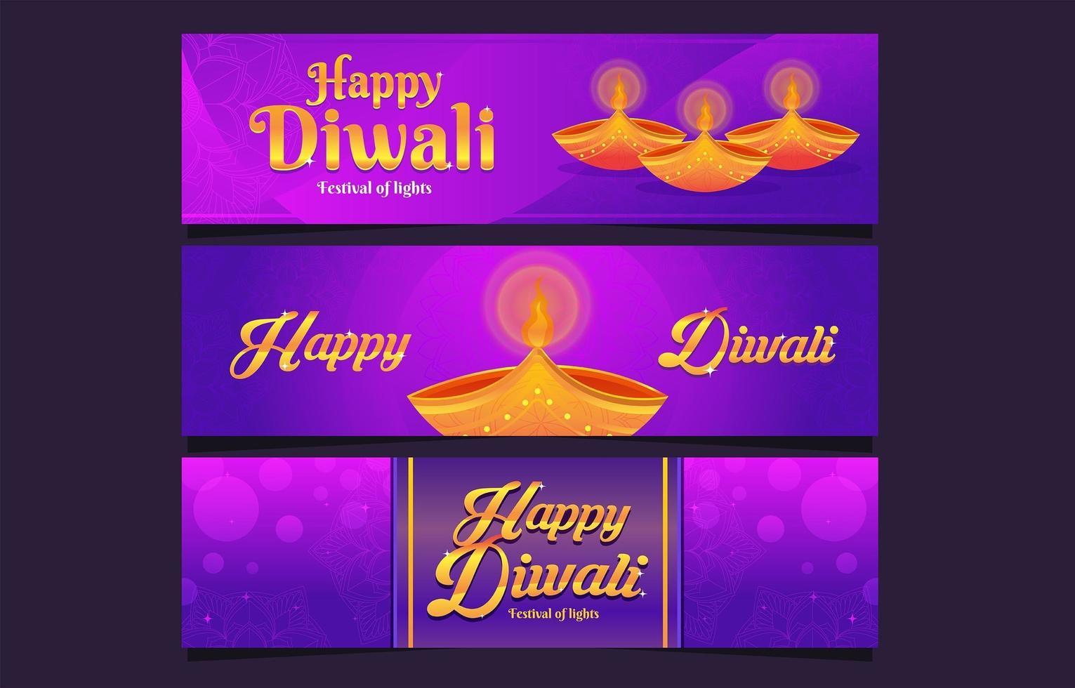 bannière du festival de diwali lumières paisibles vecteur