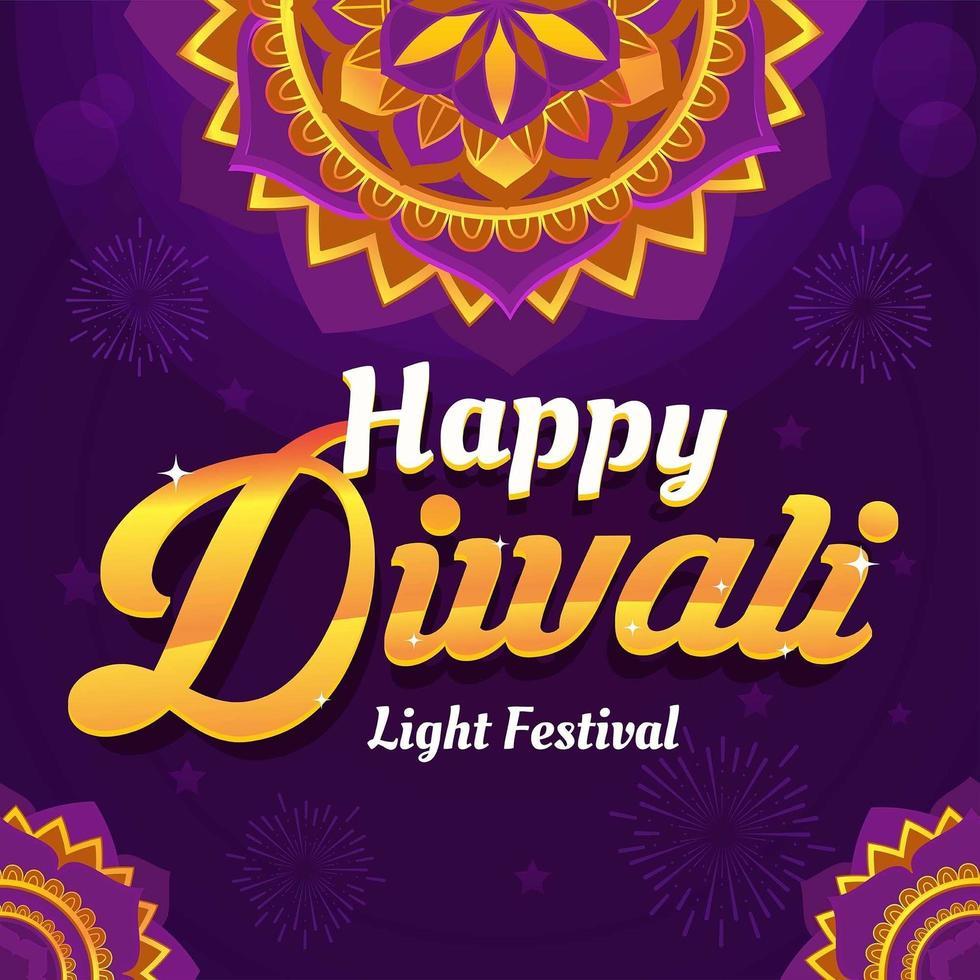 fleur de mandala du festival de diwali vecteur