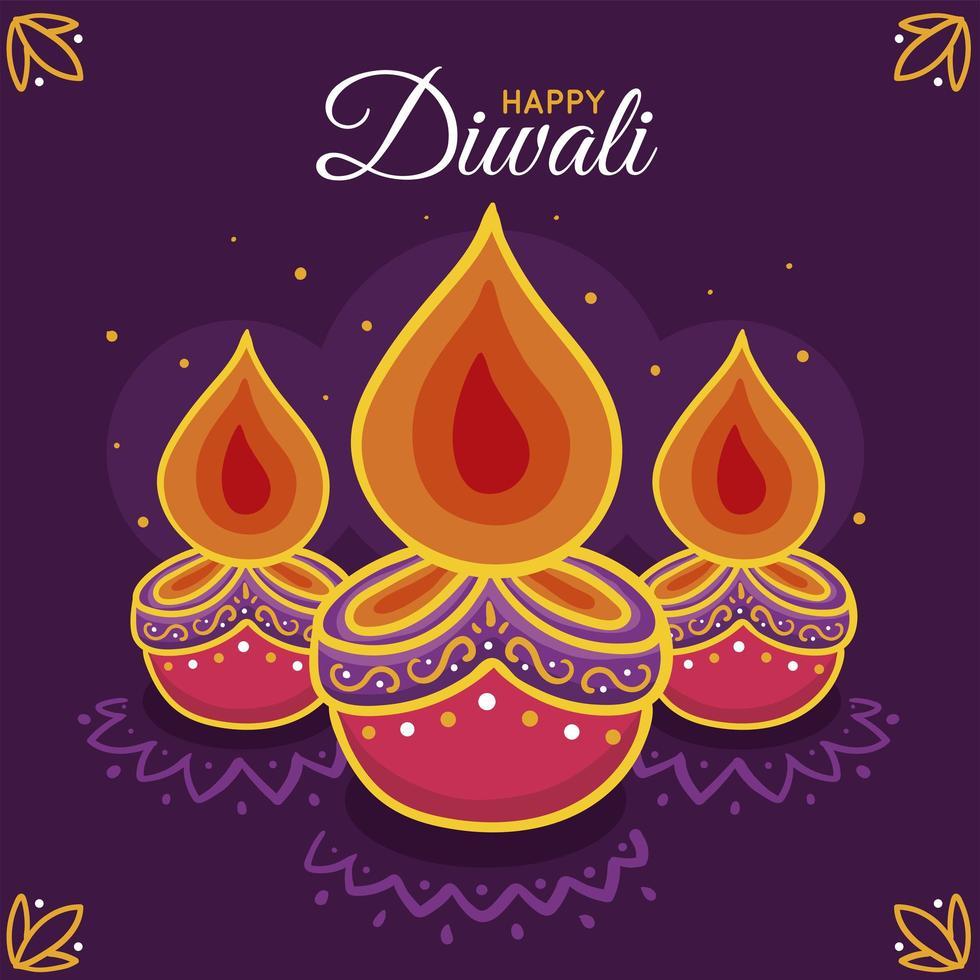 illustration de diwali dessiné à la main vecteur