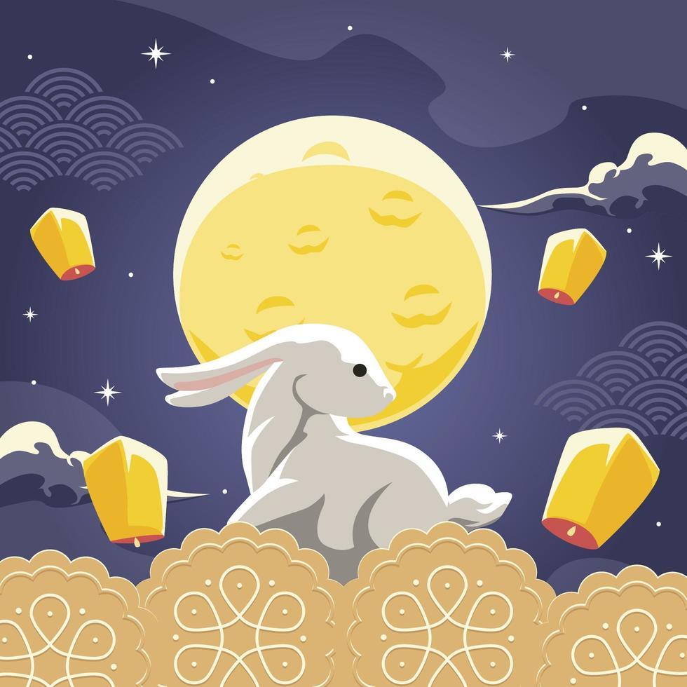 illustration de lapin festival mi automne vecteur