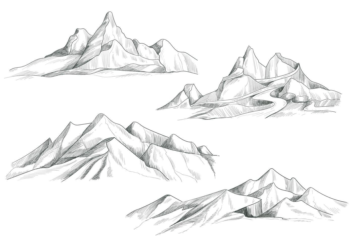 dessin à la main paysage de montagne ensemble conception de croquis vecteur