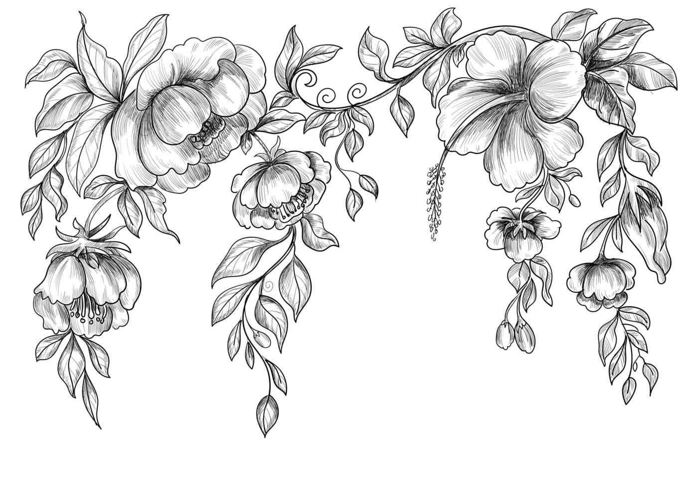 fond de croquis floral de mariage vecteur