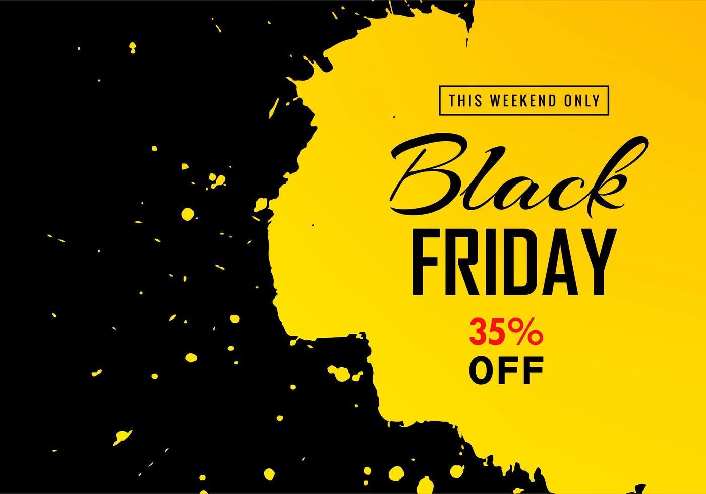 bannière de vente vendredi noir avec fond splash vecteur