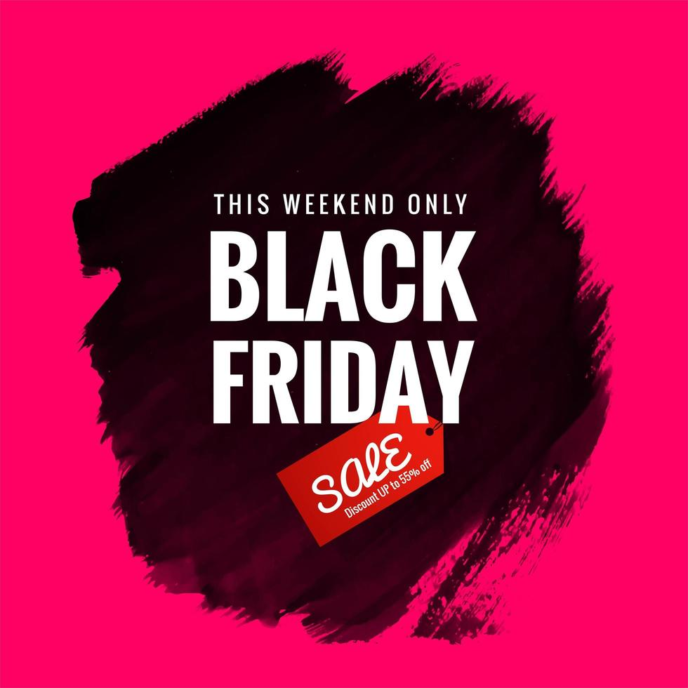 vente abstraite vendredi noir avec conception de bannière de brosse vecteur