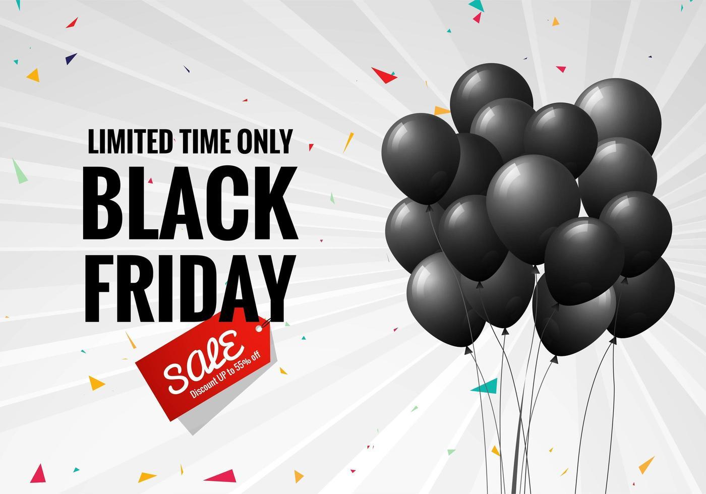 affiche de vente vendredi noir avec des ballons et fond de confettis vecteur