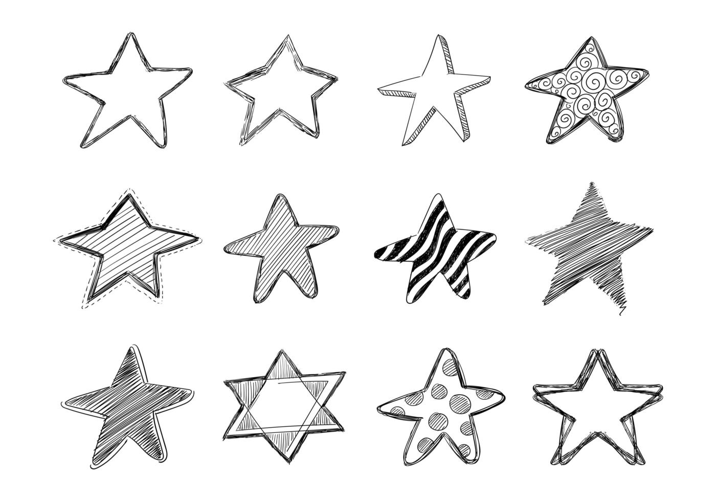 conception de collection étoile doodle croquis dessinés à la main vecteur