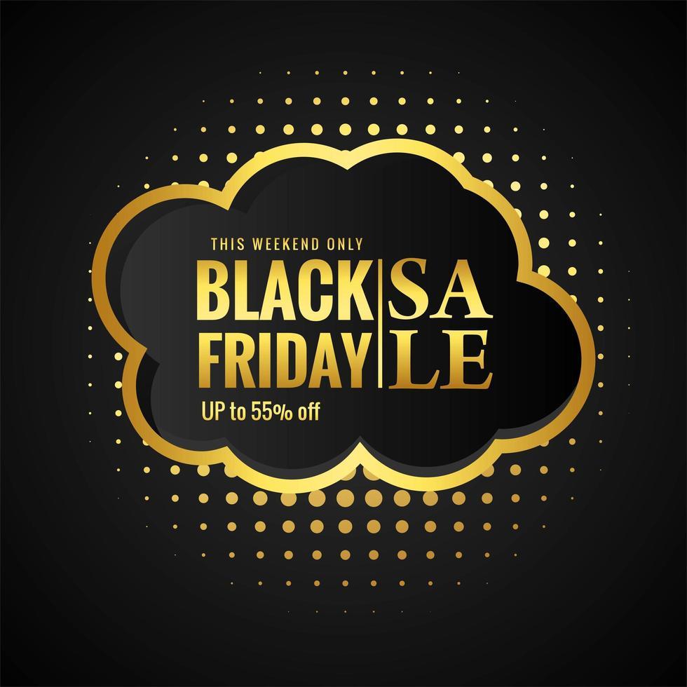 vente de vendredi noir avec fond de carte dorée vecteur