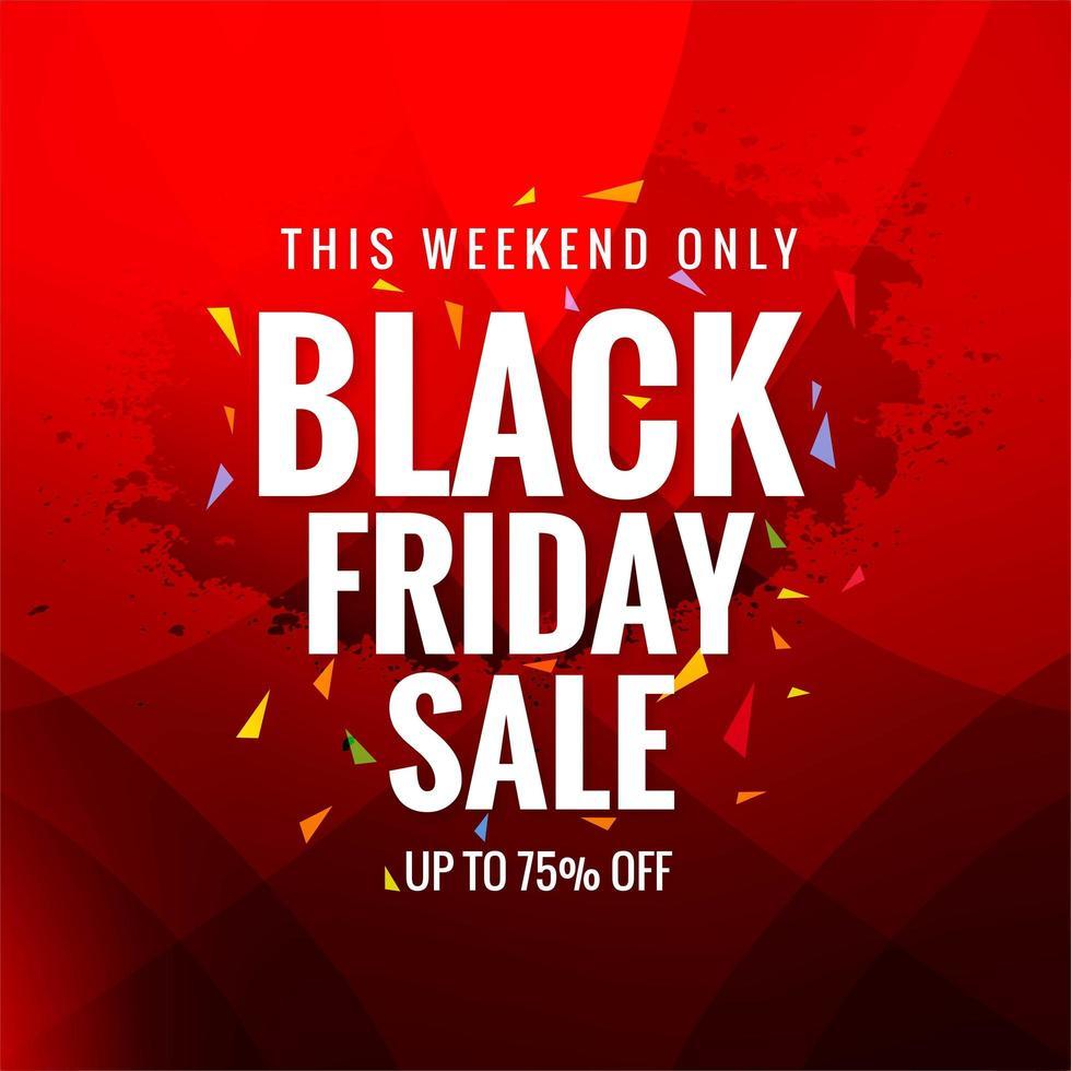 affiche de vente de concept vendredi noir sur fond rouge vecteur