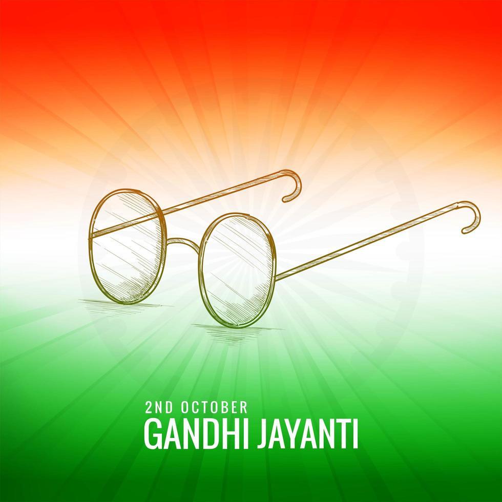 Gandhi jayanti avec des lunettes de croquis thème de couleur indienne vecteur