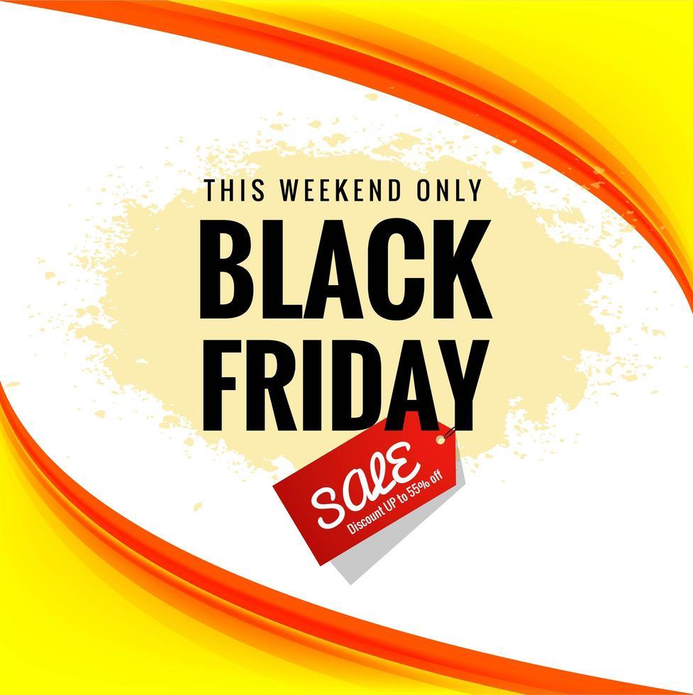 affiche de vente vendredi noir sur fond de bannière vague vecteur