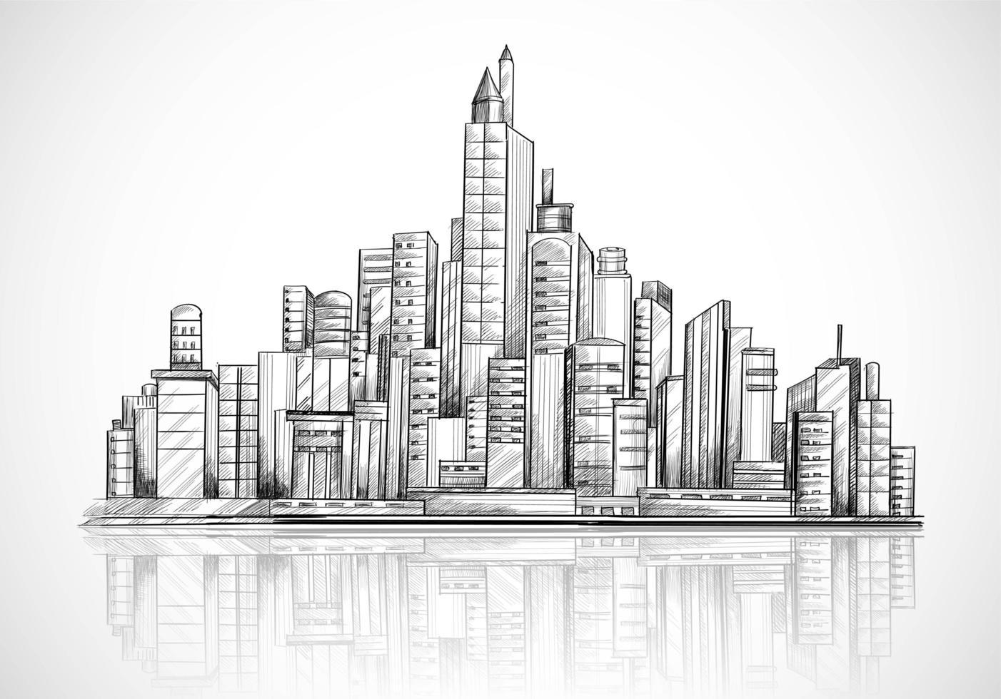 fond de croquis de skyline ville dessiné à la main vecteur