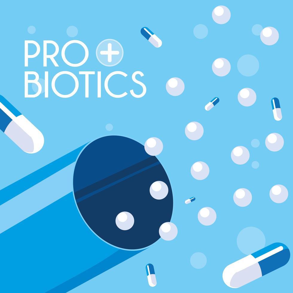 icône de capsules de probiotiques médecine vecteur