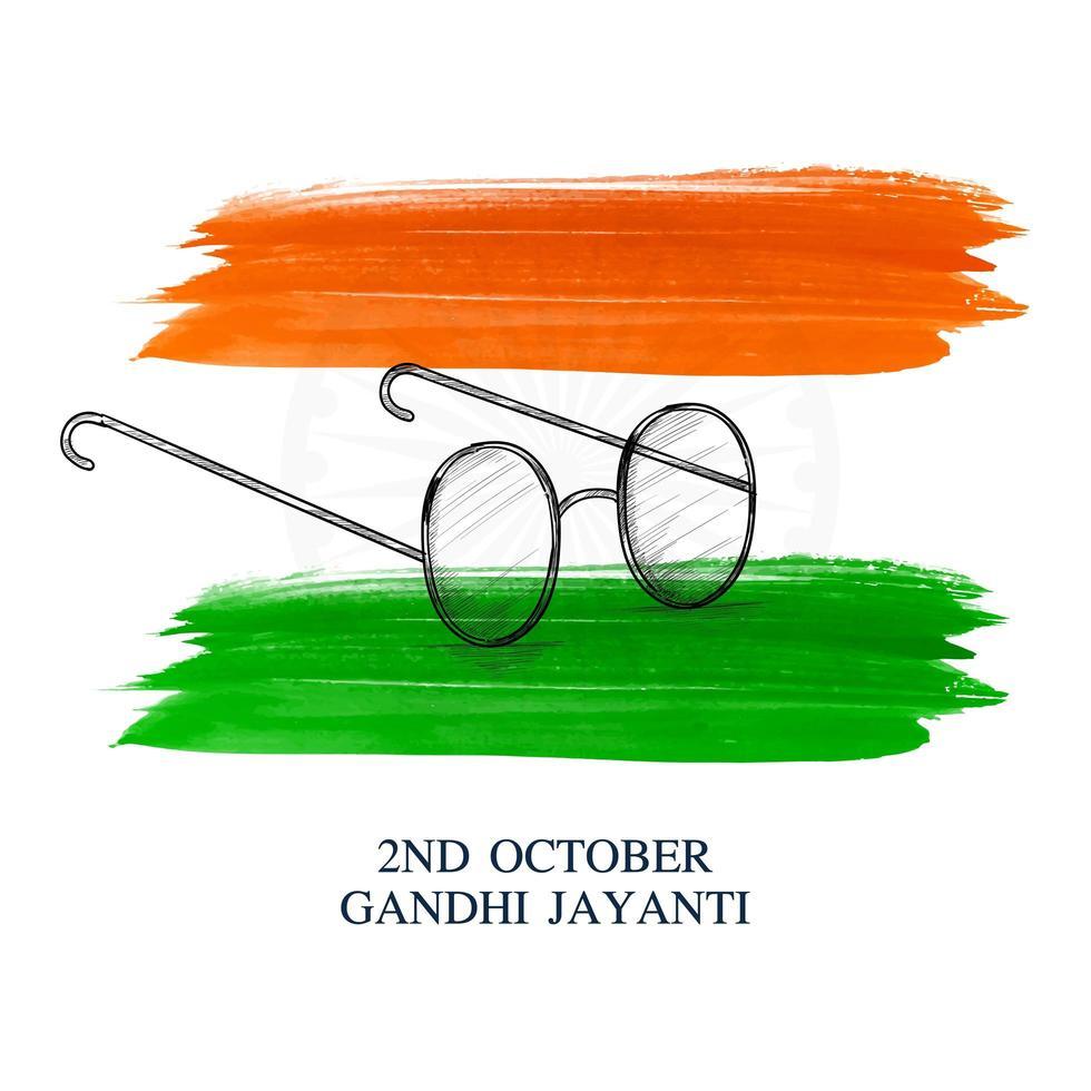 Gandhi jayanti avec des lunettes d'art en ligne thème de couleur indienne vecteur