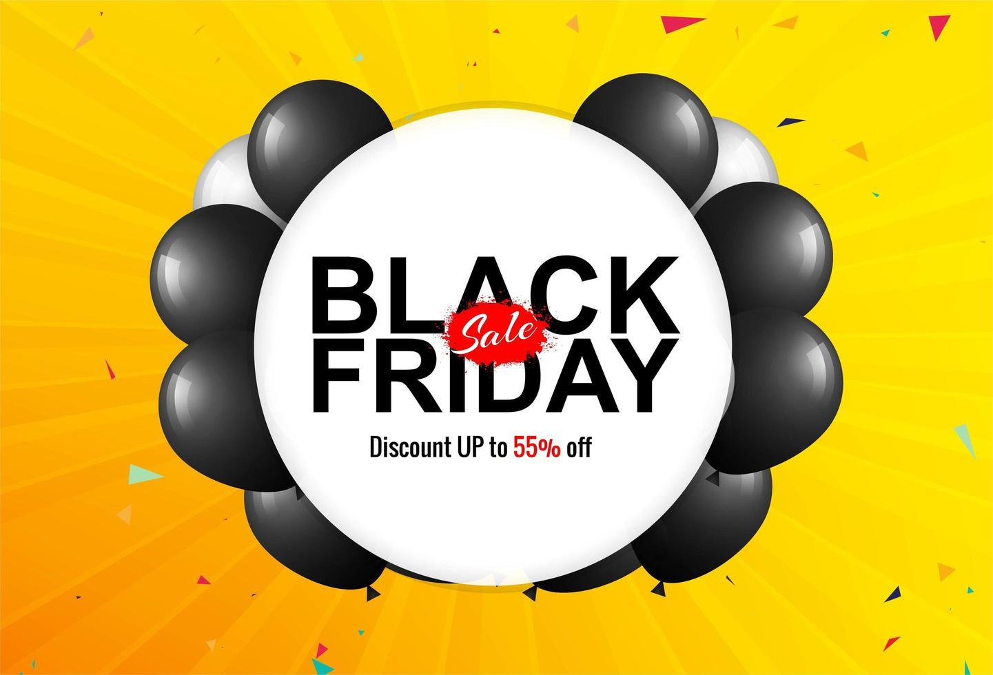 affiche de vente vendredi noir avec fond de ballons vecteur
