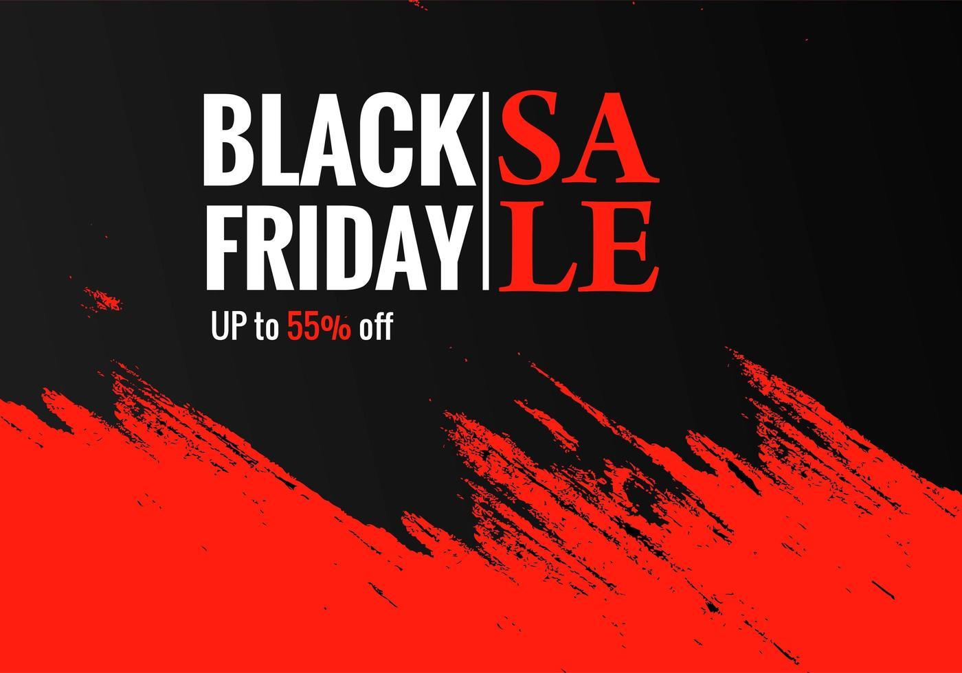 affiche de vente vendredi noir sur un fond de coup de pinceau à la main vecteur