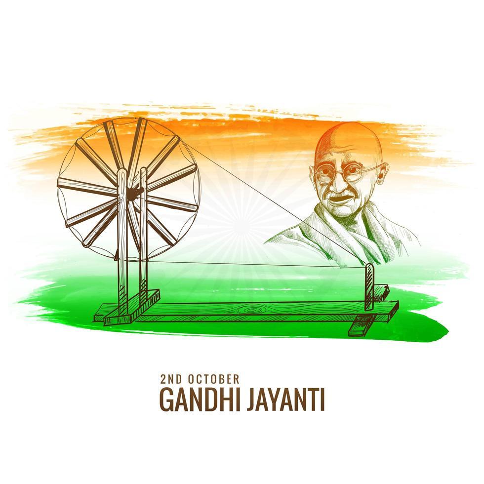 gandhi jayanti rouet comme fête nationale vecteur