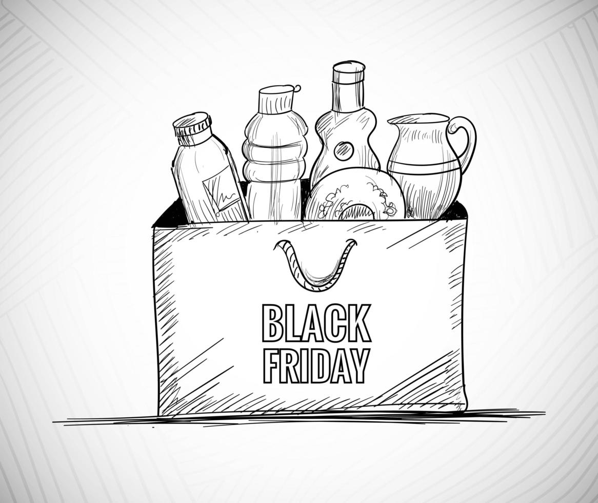 fond de vendredi noir avec conception de croquis de sac à provisions vecteur