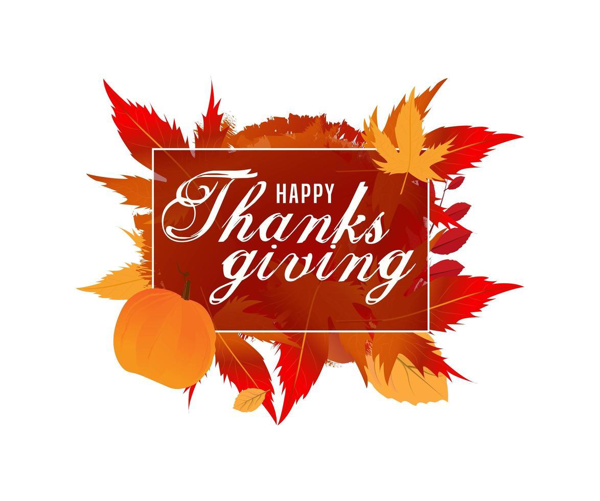 texte de calligraphie de joyeux thanksgiving vecteur