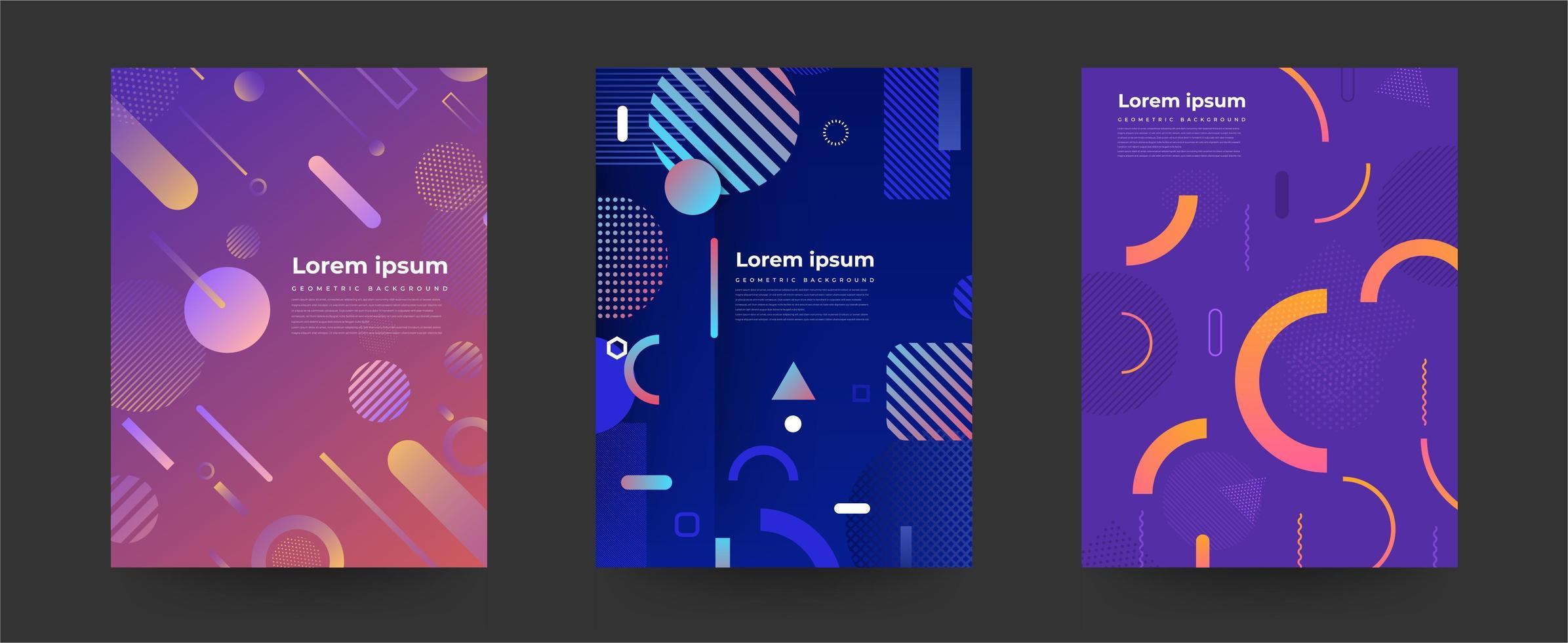 ensemble de dessins de couverture avec fond géométrique vecteur