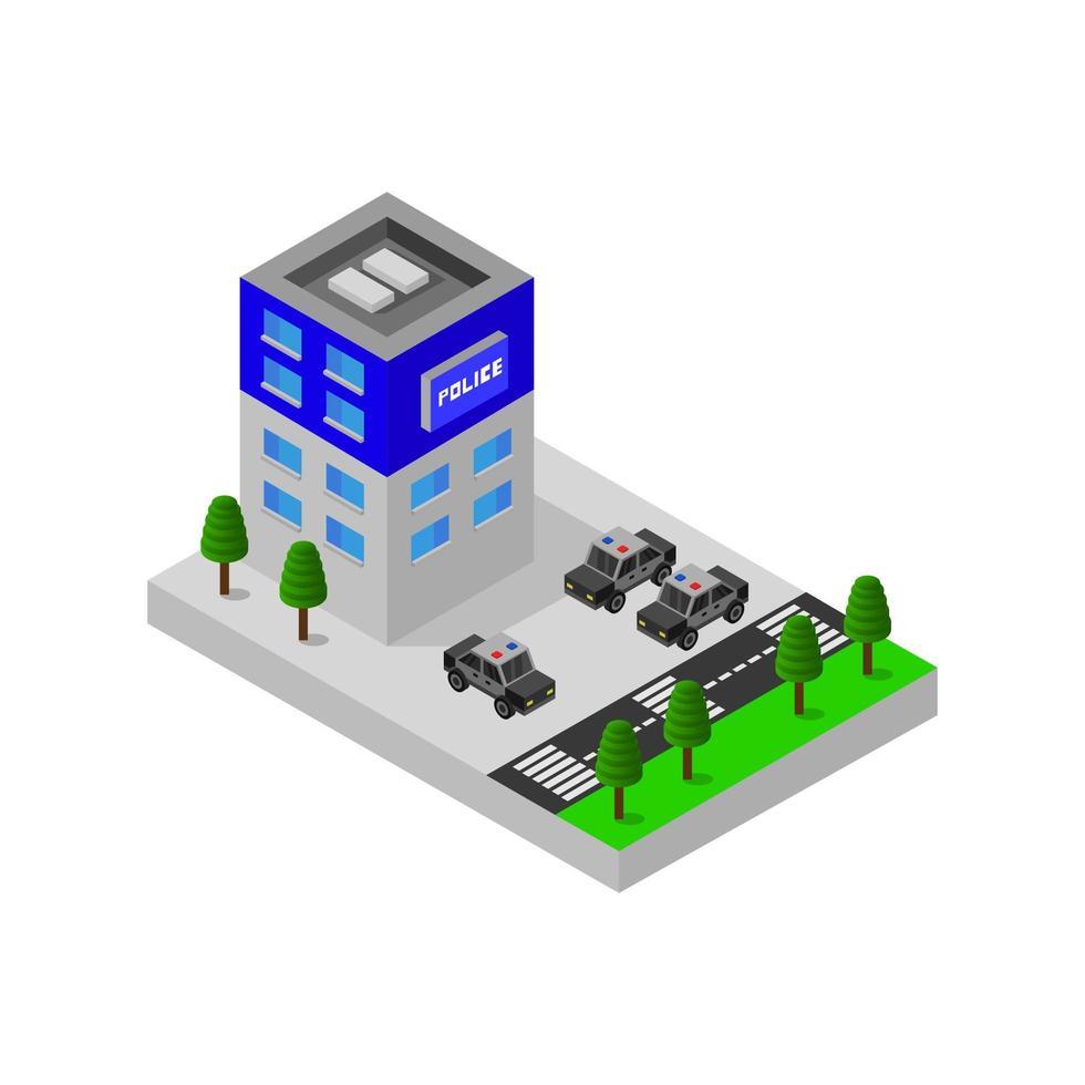 poste de police isométrique vecteur