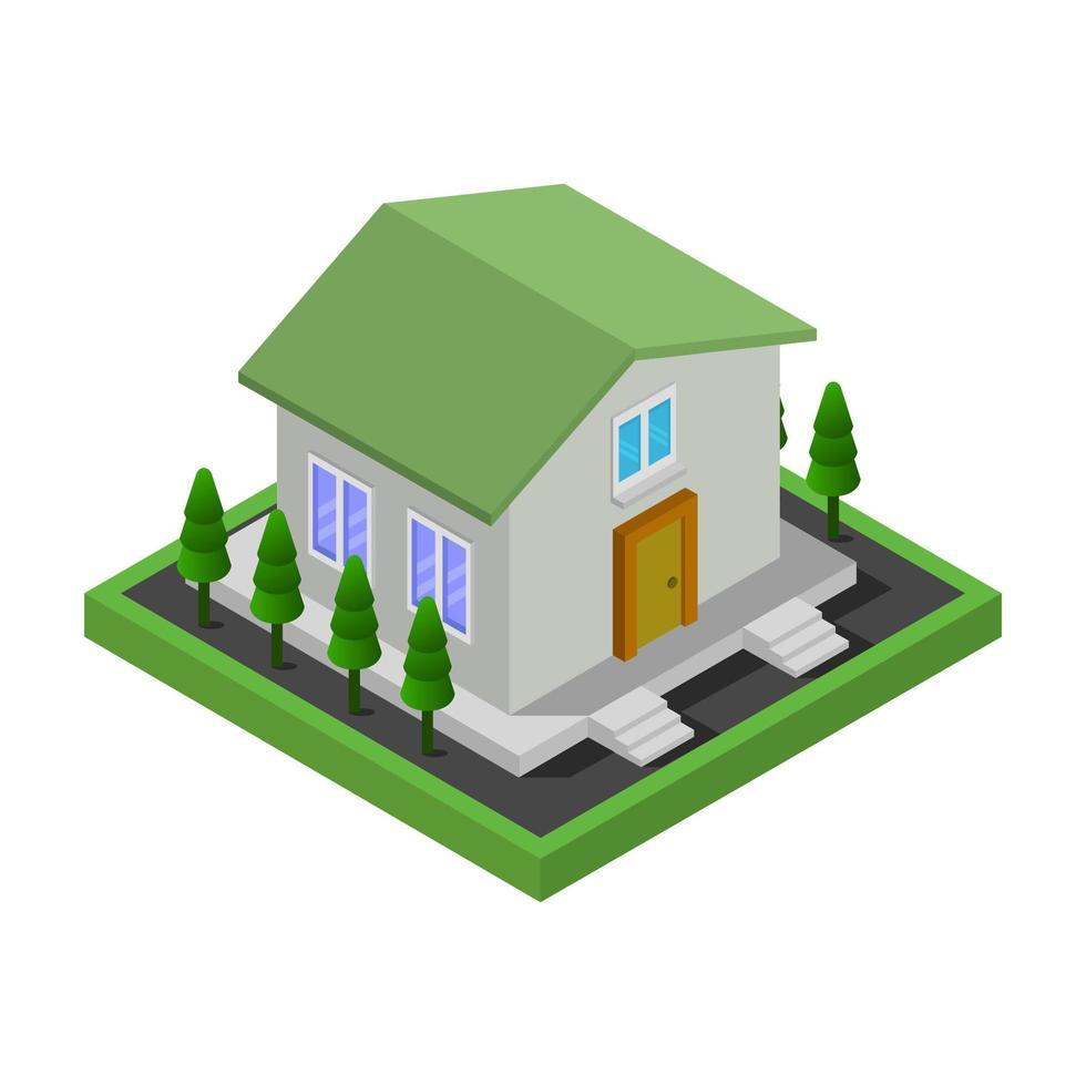 maison isométrique verte sur fond blanc vecteur