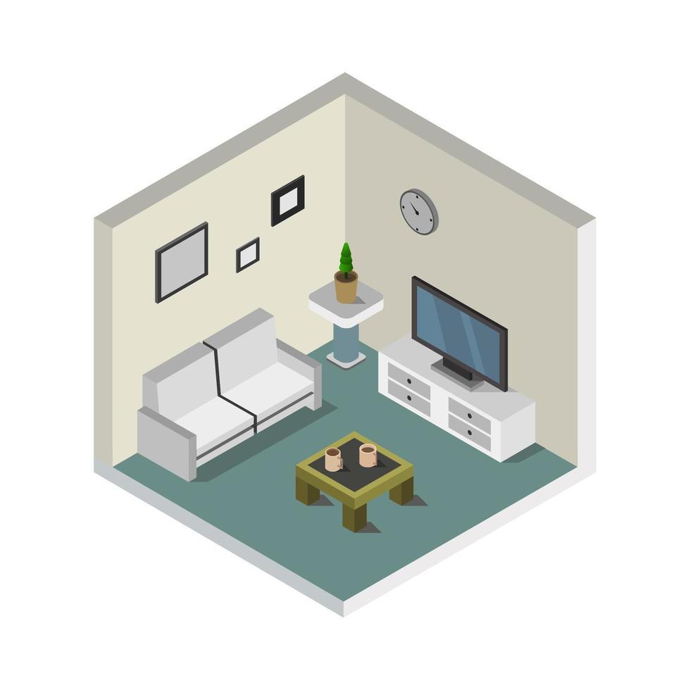 chambre avec télévision isométrique sur fond blanc vecteur