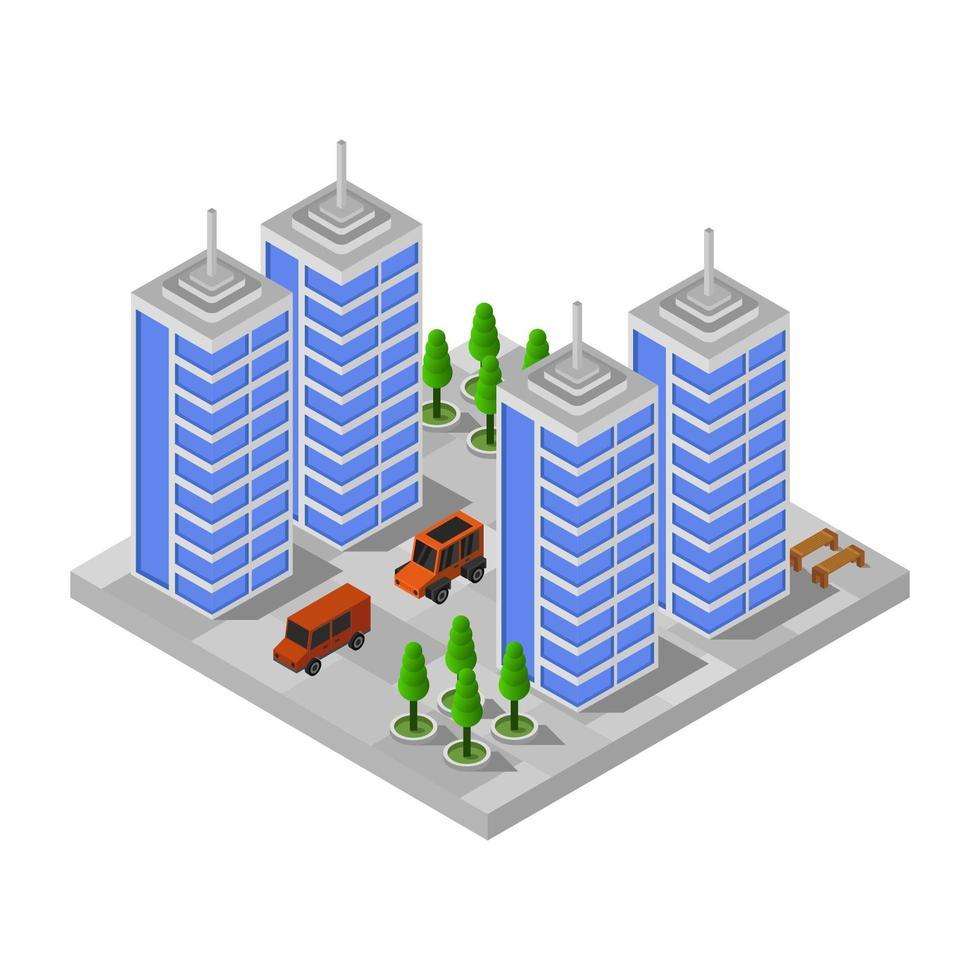 ville isométrique sur fond blanc vecteur