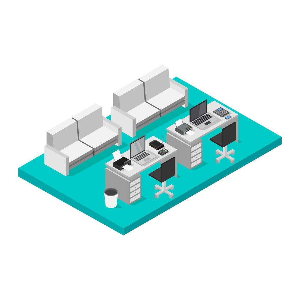 bureau isométrique sur fond blanc vecteur