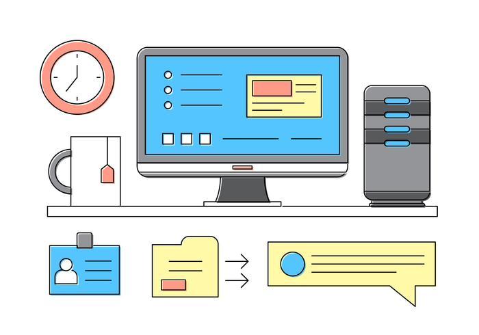 Informatique Icônes de bureau vecteur
