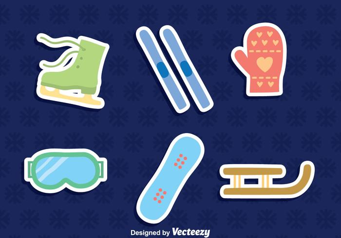 Vecteur d'icônes d'élément de sport d'hiver