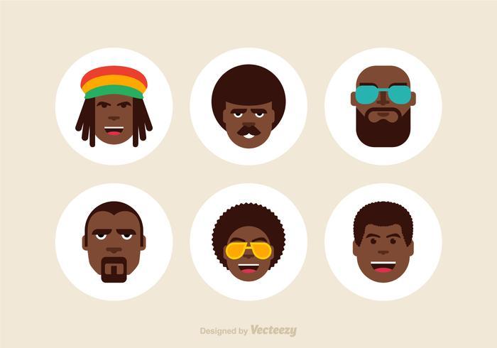 Icônes libres de vecteur masculin d'Afro
