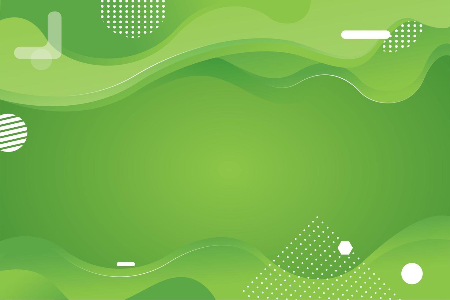 fond vert avec des vagues dégradées vecteur
