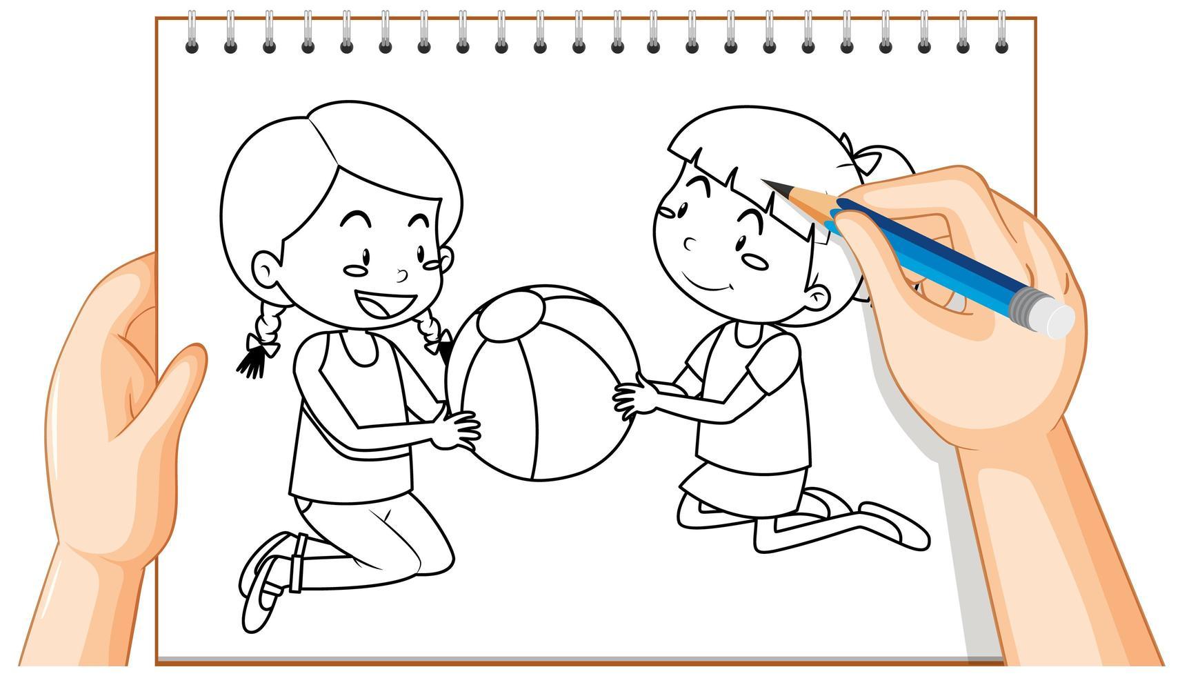 doodle de deux filles jouant avec un ballon vecteur