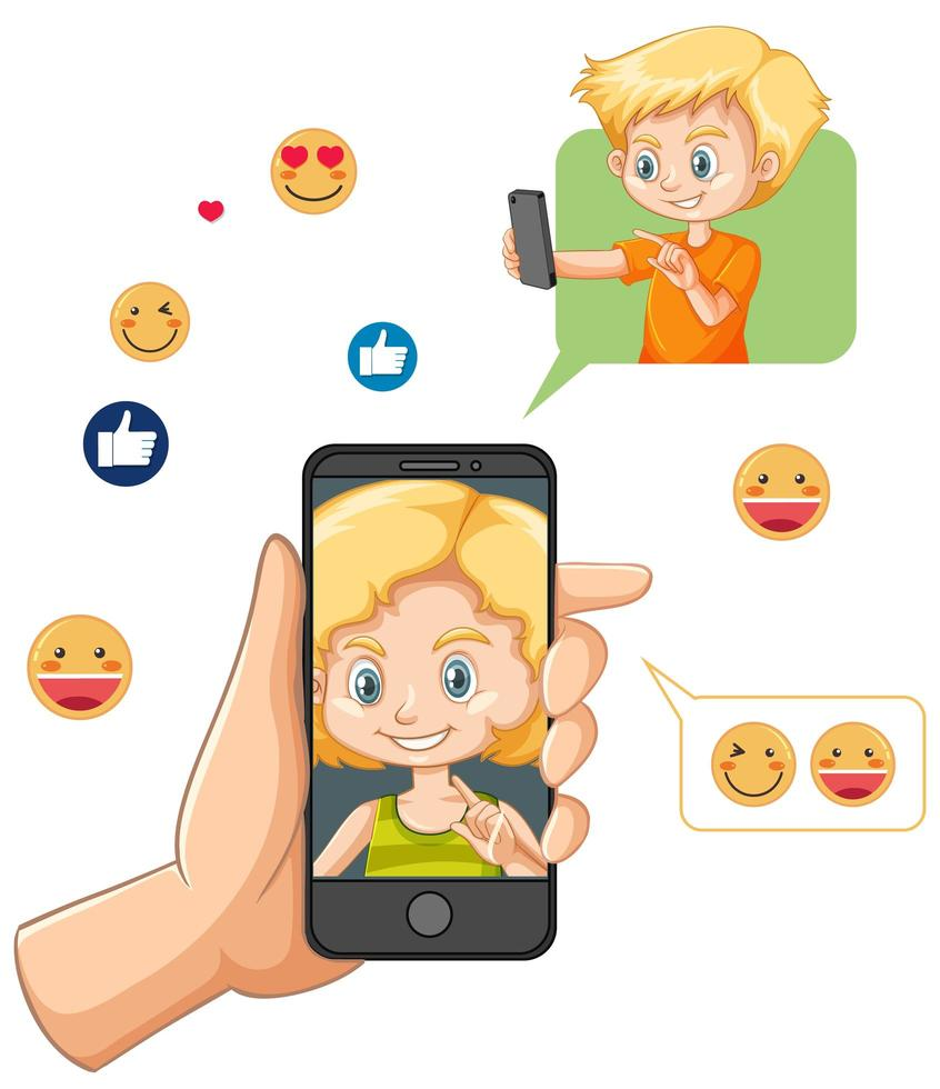 enfants lors d'un appel vidéo via smartphone vecteur