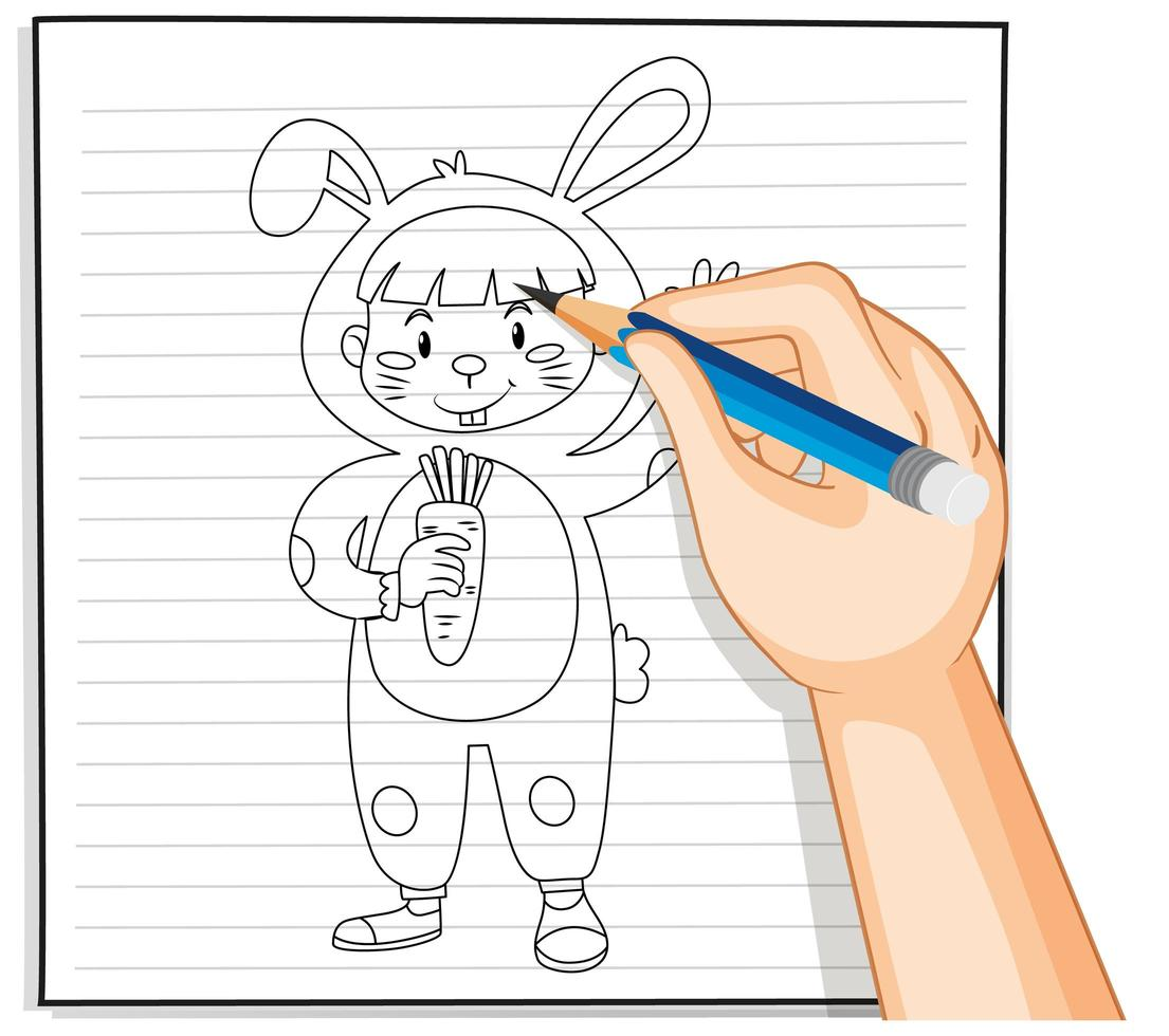 doodle d & # 39; un petit enfant en costume de lapin vecteur